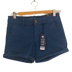 NWT AEO Midi Low Rise Blue Twill Shorts 2